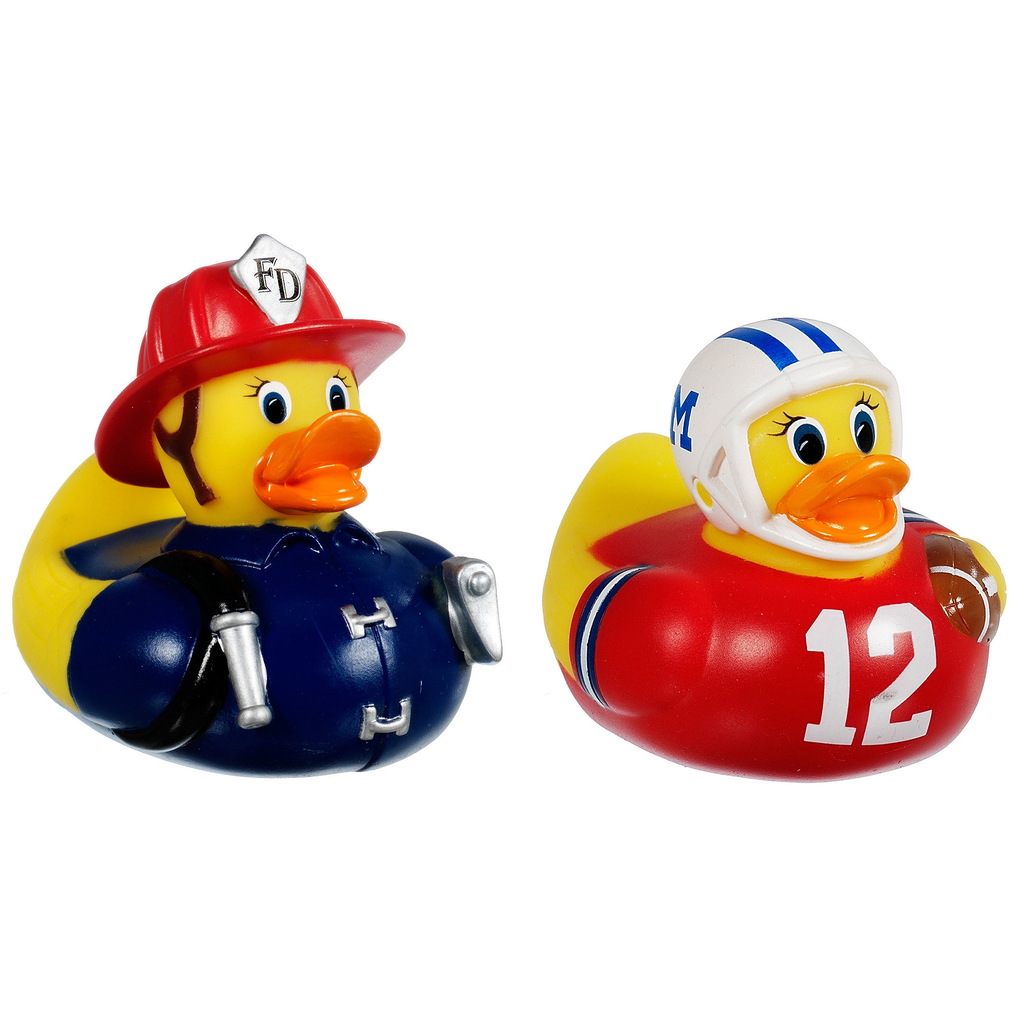 Munchkin White Hot Super Safety Bath Ducky, 2 Pack, Fireman and Football