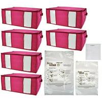 SuperPack 6 Jumbo Totes w/ Compression Bags Plus 2 Bag Bonus