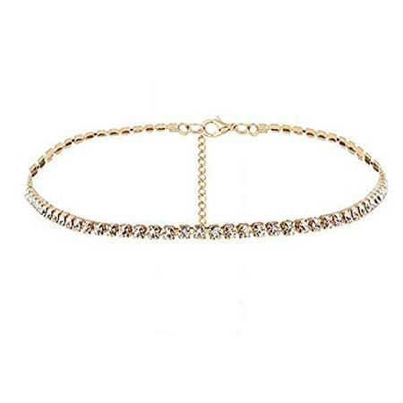 Bling Women Rhinestone Diamond Choker Necklace Crystal Wide Collar Jewelry Party (Gold) (Topaz Rhinestone Accents)