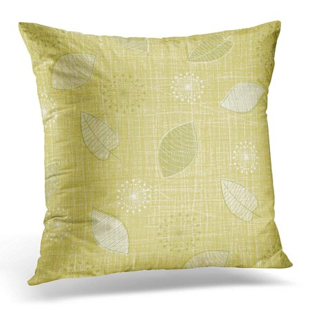 Green Gold Leaves (ARHOME Lovely Linen Weave with Vintage Leaves in Color Palette of Green and Gold Retro Inspired by Mid Century Pillow Case Pillow Cover 18x18)