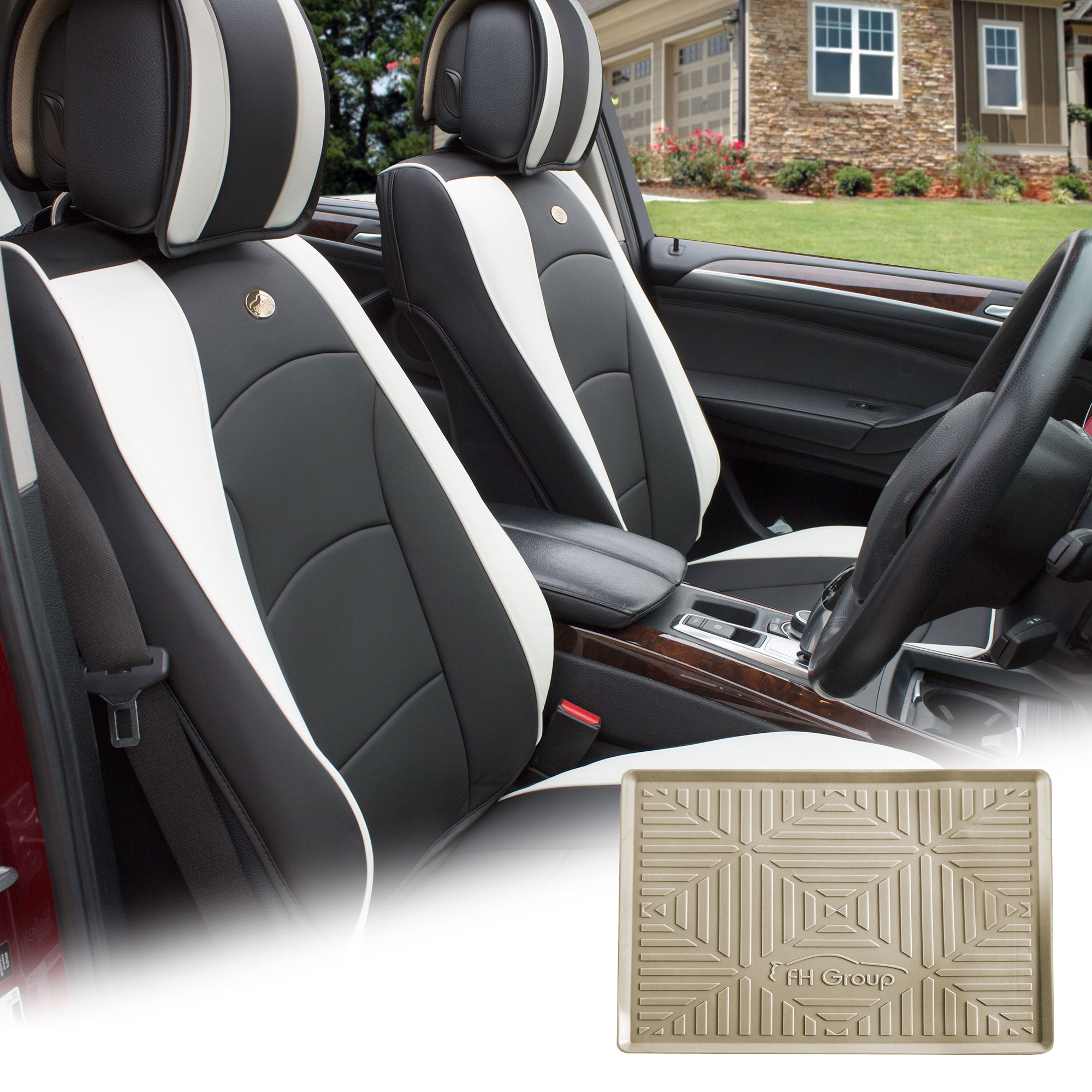 FH Group Black White PU Leather Front Bucket Seat Cushion Covers for Auto Car SUV Truck Van with Beige Dash Mat Combo