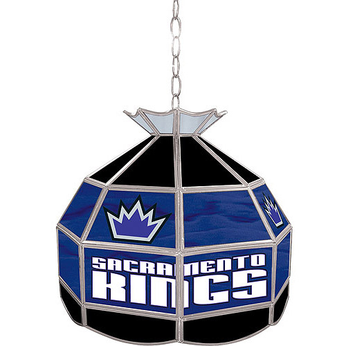 "Trademark Global Sacramento Kings NBA 16"" Stained Glass Tiffany Lamp Light Fixture"