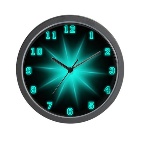 "CafePress - Blue Neon Star - Unique Decorative 10"" Wall Clock"