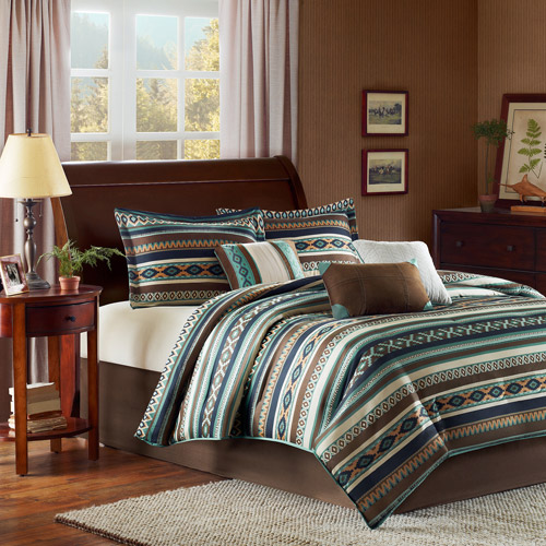Home Essence Beau 7-Piece Bedding Comforter Set, Blue
