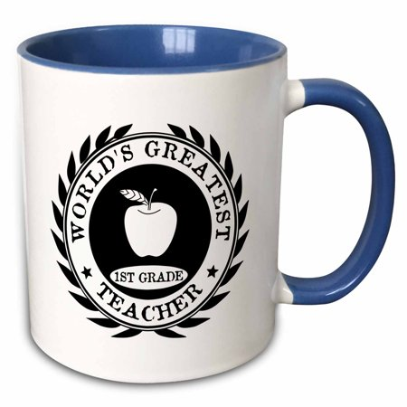 3dRose Worlds Greatest 1st Grade Teacher award Best first grade teaching gift - Two Tone Blue Mug,