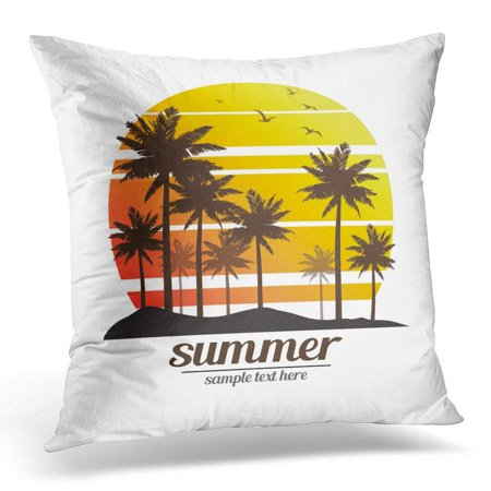 ARHOME Black Sun Tropical Palm Trees Island Silhouettes with Sunset Coconut Throw Pillow Case Pillow Cover Sofa Home Decor 16x16 Inches ()