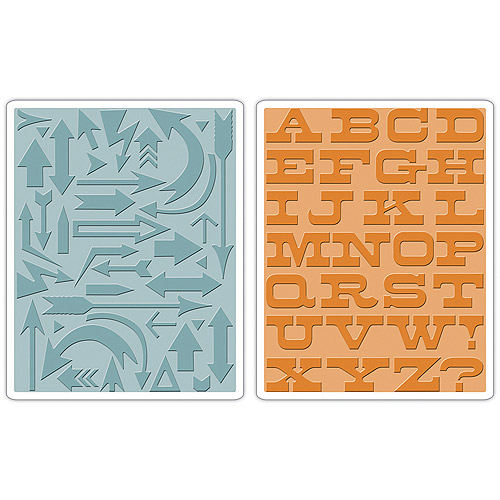Sizzix Texture Fades A2 Embossing Folders, 2pk, Arrows and Boardwalk By Tim Holtz