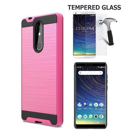 """Phone Case for Coolpad Legacy (6.36"""" Screen), Metallic Brushed Design Shockproof Protection Cover Case + Tempered Glass Screen Protector (Hot Pink)"""