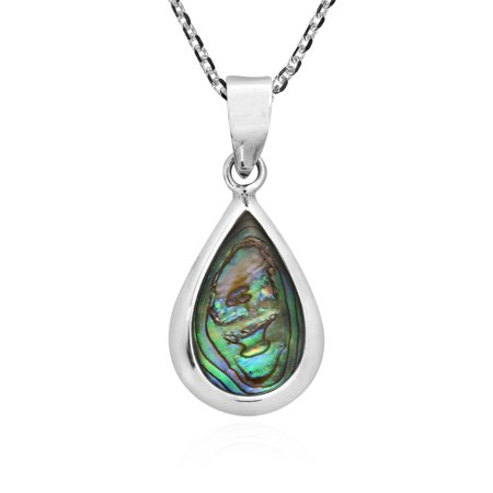 Simply Elegant Teardrop Abalone Shell Inlay Sterling Silver Pendant Necklace Abalone Inlay Sterling Silver Pendant