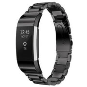 Fitbit Charge 2 Replacement Band, Mignova Solid Stainless Steel Link Bracelet Replacement Band Strap with Durable Folding Clasp for Fitbit Charge 2 Smart Fitness Tracker (Black)