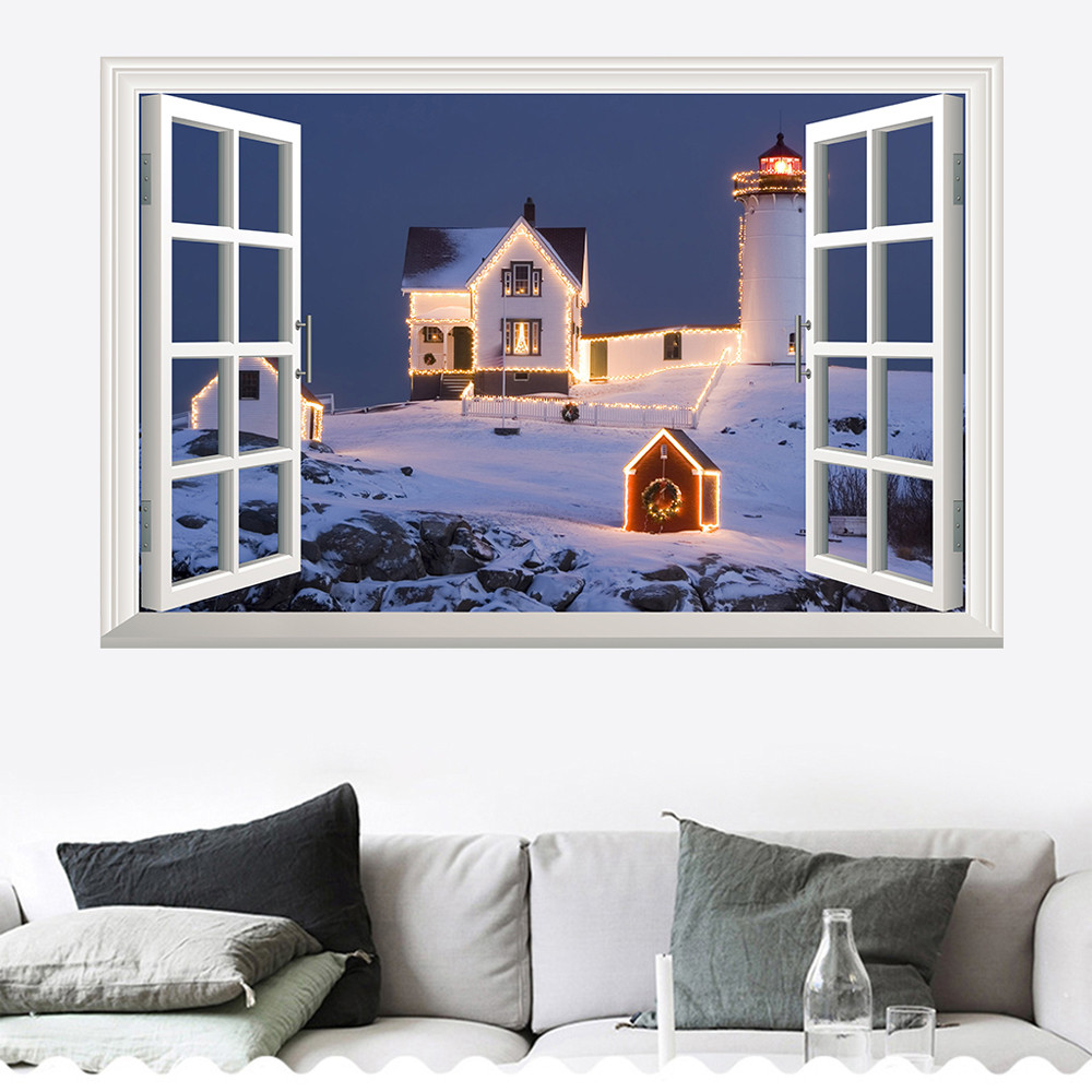 Christmas 3D Wall Sticker Removable Mural Decals Vinyl Art Living Room Decors