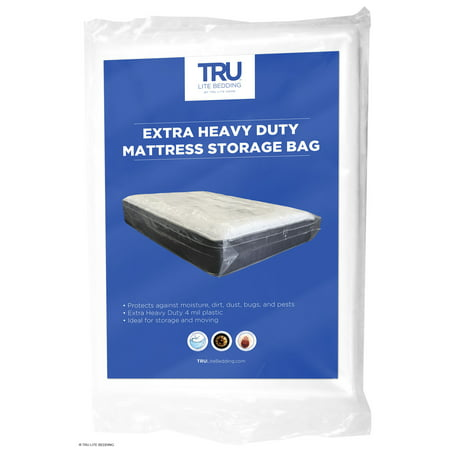 TRU Lite Heavy Duty Mattress Moving Storage Bag - 4 Mil Thick - Full / Double (Oversized Mattress Cover)