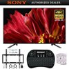 Sony XBR-65Z9F 65  4K Ultra HD Smart BRAVIA LED TV 2018 Model + Wireless Keyboard + Wall Mount Kit Bundle E20SNXBR65Z9F XBR-65Z9F 65 4K Ultra HD Smart BRAVIA LED TVVoice Remote Control (RMF-TX220U)Batteries (LR03)AC Power Cord Spec (US, Pig-tail, 2pin, flat blades Polarity)IR Blaster (1-845-407-11)Operating Instructions (US,FR)Quick Setup Guide / Supplement CUE (GA) (US,FR,ES,PT)Table Top Stand (Separate (assembly required))Bundle Includes:Sony XBR-65Z9F 65 4K Ultra HD Smart BRAVIA LED TV 2018 ModelDeco Gear 2.4GHz Wireless Backlit Keyboard Smart Remote with Touchpad MouseStanley SurgePro 6 NT 750 Joule 6-Outlet Surge Adapter with Night LightDeco Mount Flat Wall Mount Kit Ultimate Bundle for 45-90 inch TVsXBR-65Z9F 65 class (64.5 diag.) BRAVIA 4K HDR ULTRA HD TVPowerful. Beautiful. The Picture Processor X1 Ultimate and X-tended Dynamic Range PRO 12x technology give the Z9F immaculate 4K HDR picture quality. X-Wide Angle technology ensures a great view of the TV from anywhere in the room, and X-Motion Clarity makes action scenes look amazingly real. Introducing the MASTER Series: the best of Sony.Product Highlights:MASTER series TVs are meticulously engineered for excellence with the latest and greatest in TV technologyPrecision Full Array Local Dimming and Boosting for more exact dynamic rangeEverything is upscaled to get close to 4K HDR with the Picture Processor X1 Ultimate and 4K X-Reality PROX-tended Dynamic Range PRO 12X contrast range provides a wider range of brightness4K HDR - HDR10, HLG and Dolby Vision for incredible detail and clarityEnjoy smooth and vibrant colors with TRILUMINOS Display and 4K HDR Super Bit MappingX-Wide Angle technology makes picture and color look great from anywhere in the roomOn-screen action and motion look better than ever with X-Motion Clarity technologyAndroid TV with the Assistant technology gives you a genius TVEnjoy studio-quality content with Netflix Calibrated ModeA TV with premium aesthetics: Slice of living design with ca