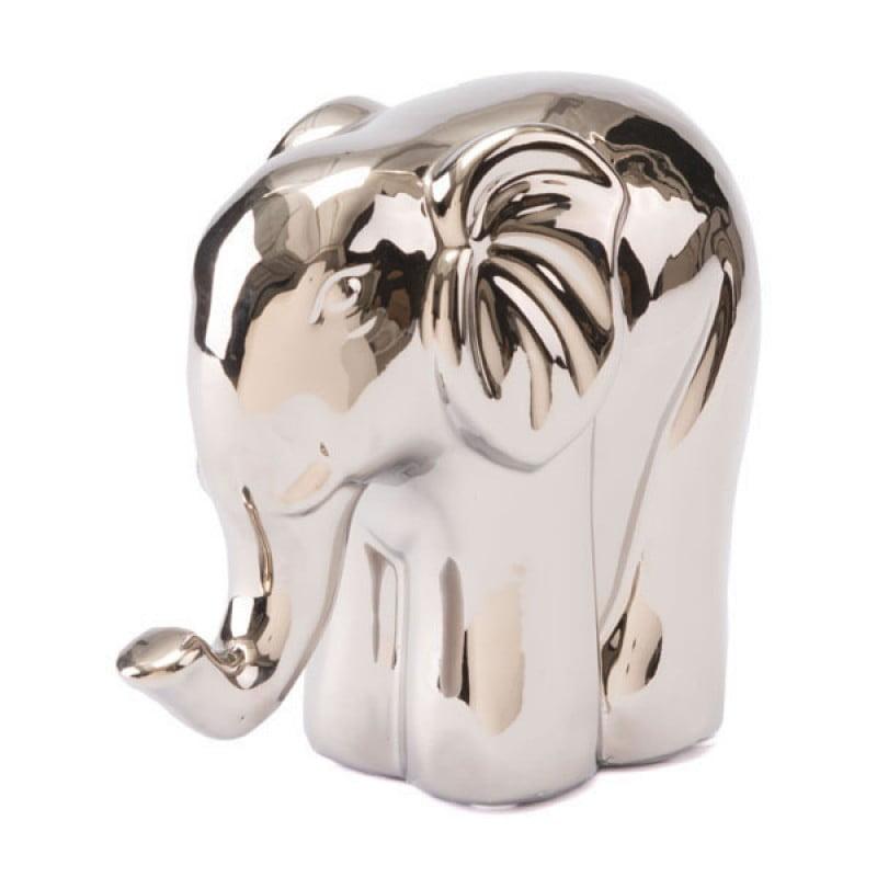 Ceramic Silver Decorative Centerpiece Elephant Sculpture Living Room Decor