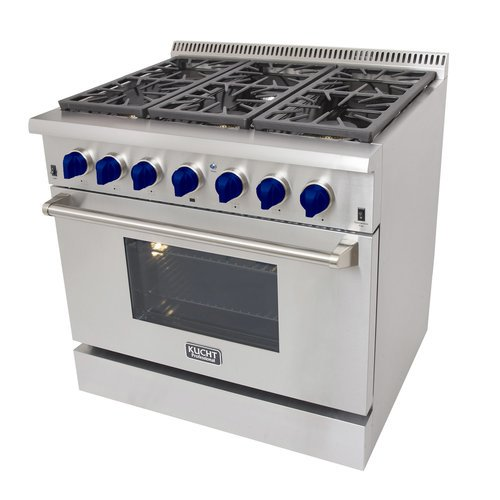 KUCHT Professional 36 in  5 2 cu  ft  Dual Fuel Range for Natural Gas with  Sealed Burners and Convection Oven in Stainless Steel with Classic Silver