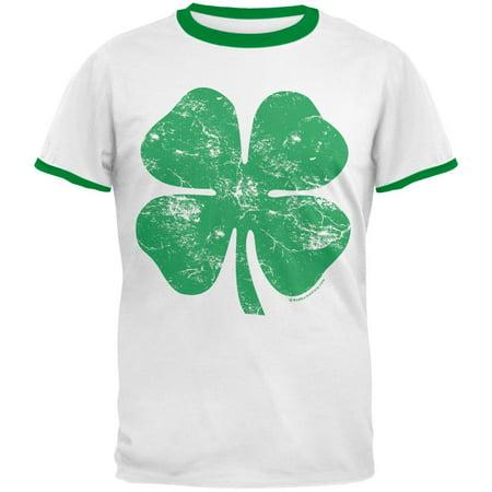 St Patricks Day Big Distressed Shamrock Mens Ringer T Shirt