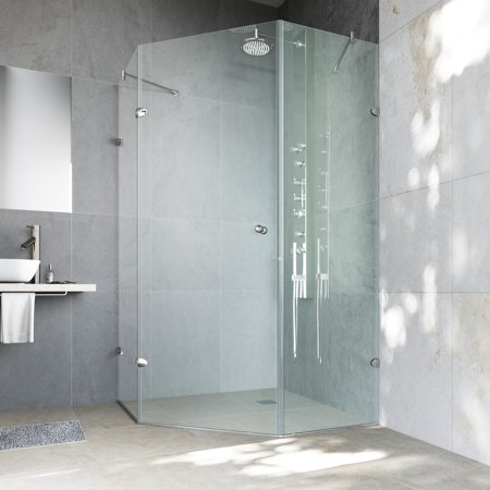 40 Inch Neo Angle Shower - VIGO Verona 40 x 40 Frameless Neo-Angle .375-in. Clear Glass/Chrome Hardware Shower Enclosure