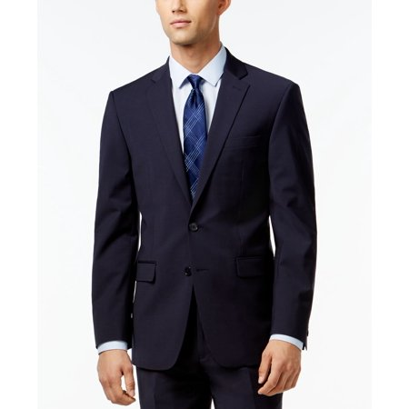 (Calvin Klein X-Fit Navy Solid Slim Fit Jacket)