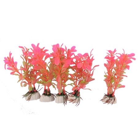 Aquarium Fish Tank Ceramic Base Plastic Water Grass Plants Decor Pink Green  5pcs