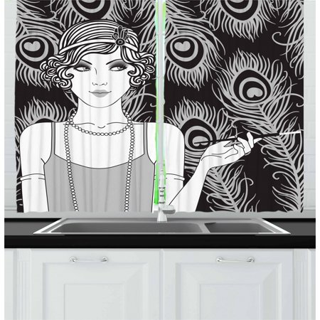 Pin up Girl Curtains 2 Panels Set, Retro Style Party Concept and a Teenage Short Haired Teenage Girl, Window Drapes for Living Room Bedroom, 55W X 39L Inches, Grey Pale Grey and Black, by (Cool Bedroom Ideas For Teenage Girls Home)