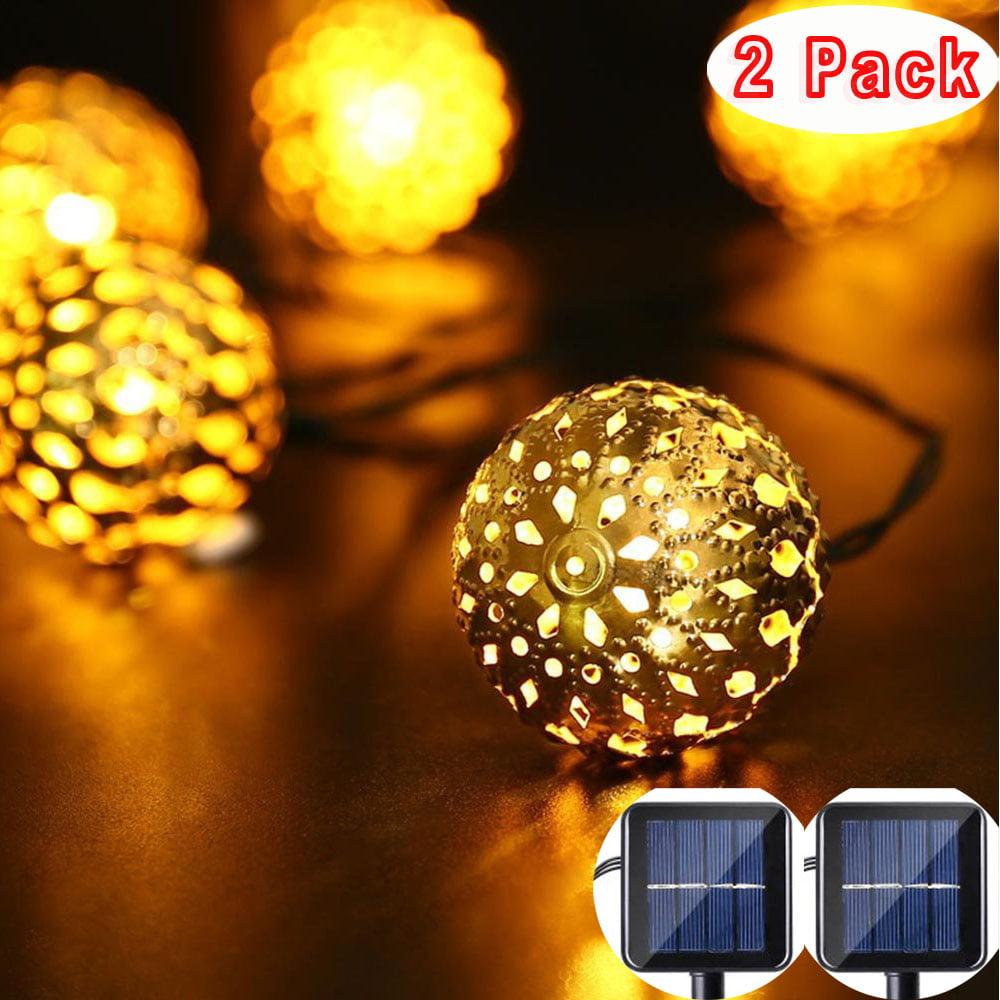 2pack Qedertek Solar String Lights 11ft 10 Led Moroccan