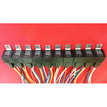 QTY5 RELAY +(5) 5 PIN SOCKET 12V DC 40A WATERPROOF DELCO D1729A REPLACEMENT