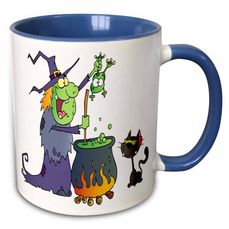 3dRose Halloween Witch and Cauldron - Two Tone Blue Mug, 11-ounce](Halloween Mud Pies)