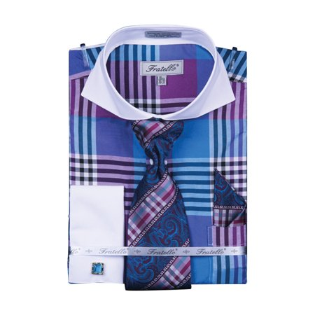 Men's Multicolor Check French Cuff Shirt - French Terry Tie