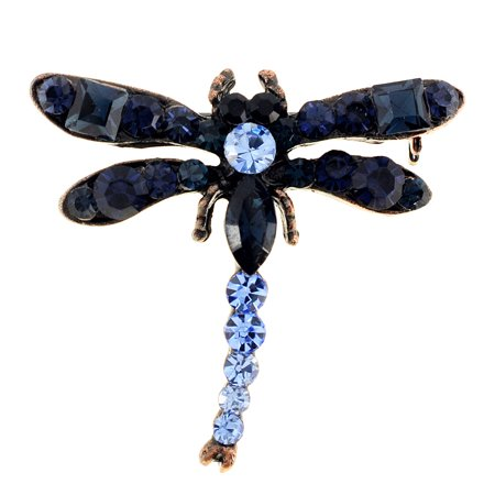 Vintage Dragonfly Pin (Vintage Style Montana Blue Crystal Dragonfly Pin Brooch)