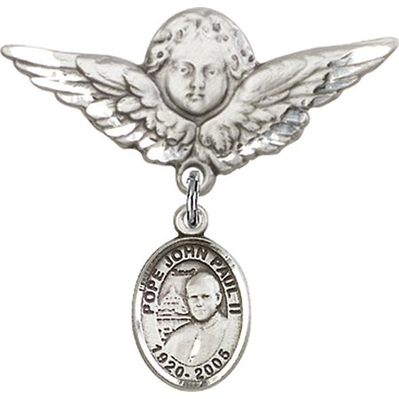 Sterling Silver Baby Badge with St. John Paul II Charm and Angel w/Wings Badge Pin 1 1/8 X 1 1/8 inches