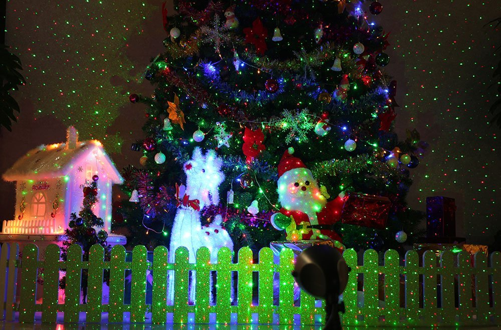 Green Christmas Lights.1byone Laser Christmas Light Aluminum Alloy Outdoor Laser Light Projector With Ir Wireless Remote Red And Green Star Laser Show For Christmas