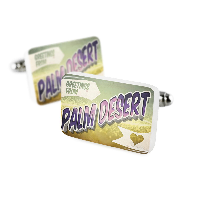Cufflinks Greetings from Palm Desert, Vintage PostcardPorcelain Ceramic NEONBLOND