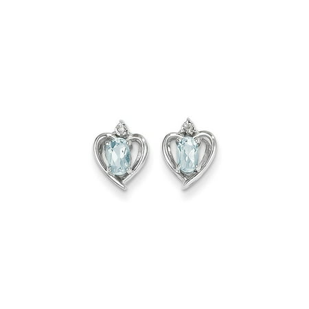 14k White Gold Aquamarine Diamond Earring / Diamond Ctw. 0.01, Gem Ctw.0.47
