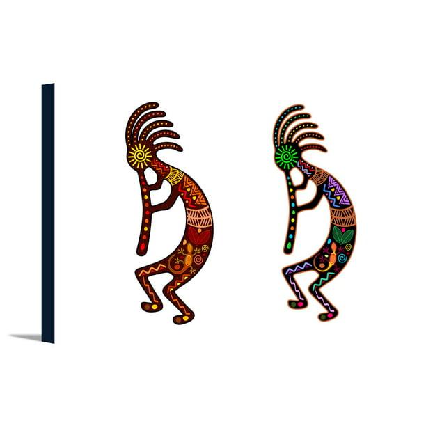 Two Kokopelli Tribal Theme Lantern Press Artwork 36x24 Gallery Wrapped Stretched Canvas Walmart Com Walmart Com
