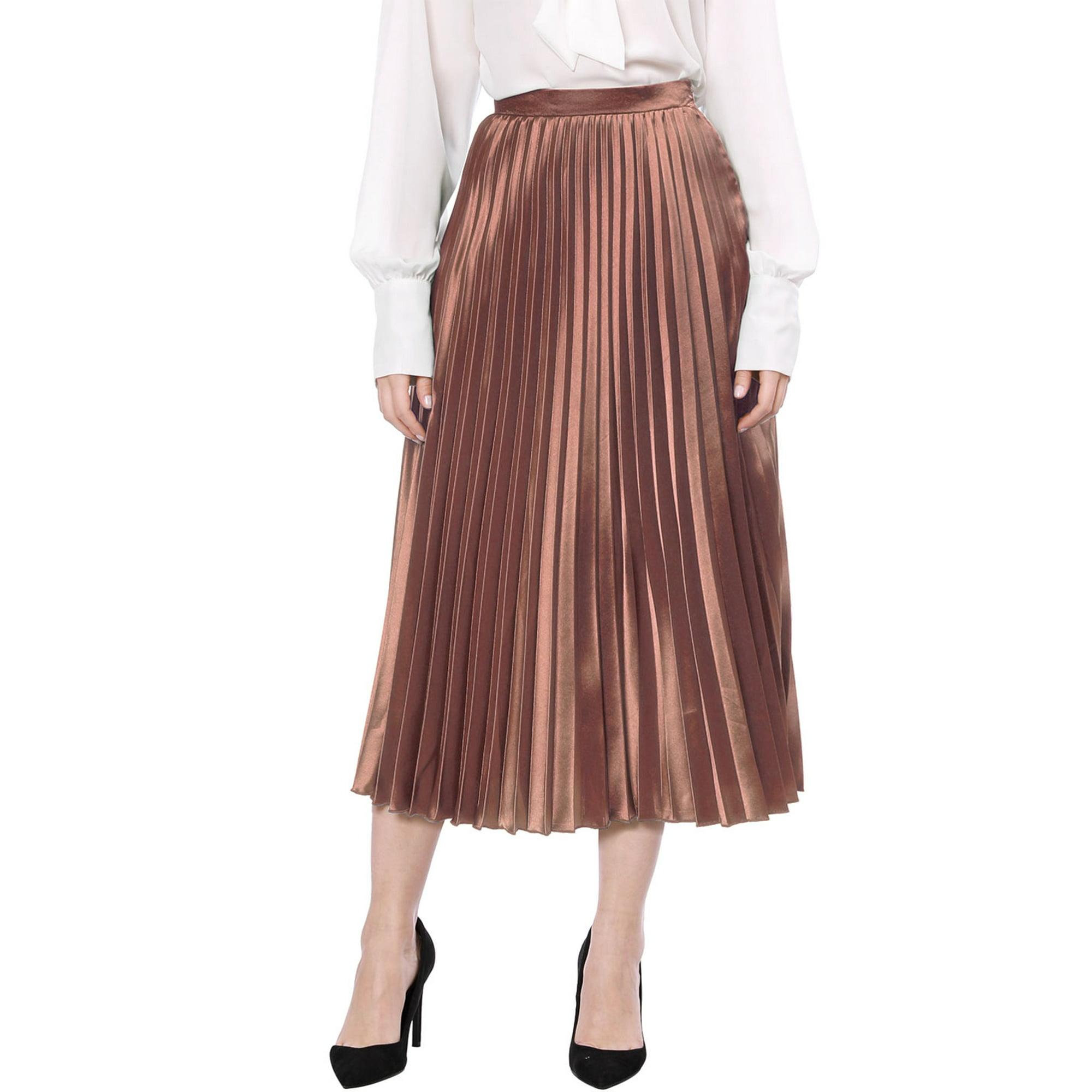 a8ea579b5 Allegra K Women Accordion Pleats Metallic Midi Skirt Copper L | Walmart  Canada