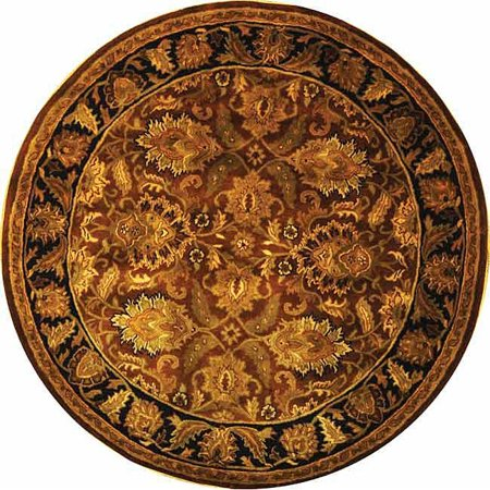 Wool Rug In Rust With Black Border 6 Ft Round Walmart Com