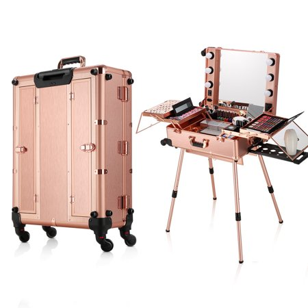 Ovonni LED Makeup Train Case, Lighted Rolling Travel Portable Cosmetic Organizer Box with Mirror & 4 Detachable Wheels, Professional Artist Trolley Studio Free Standing Workstation, Rose Gold Magnetic Cosmetic Case