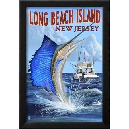 Long Beach Island New Jersey Sailfish Deep Sea Fishing Framed Print Wall Art By Lantern Press