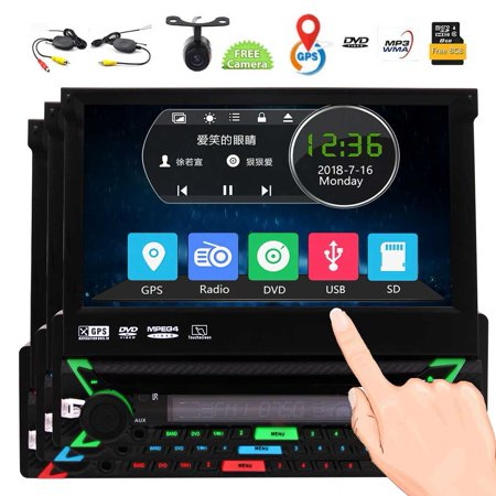 Wireless Rearview Camera included! 7-inch Single DIN In-Dash GPS Navigation with free 8GB GPS Map Card,Flip Out Capacitive Touch Screen Car Stereo System Bluetooth with optional Coloful Key