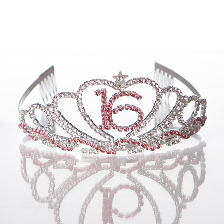 Sweet 16 Tiara 16th Birthday Party Accessories Supplies, Silver & Pink - 16th Birthday Tiara