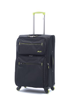 """iFLY Softside Luggage Accent 20"""" Carry-On Luggage, Black and Green"""