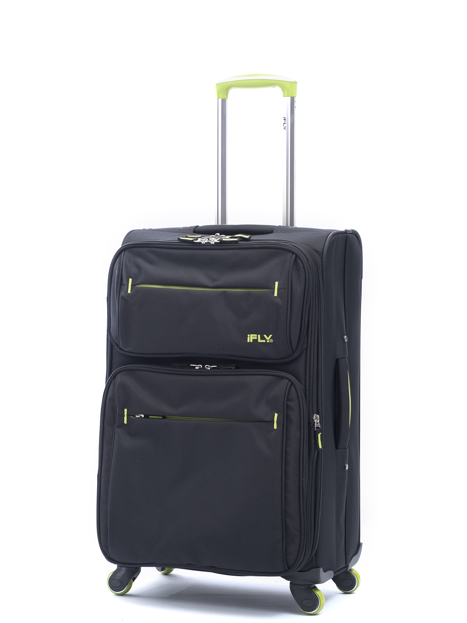 """iFLY Softside Luggage Accent 20"""", Black and Green"""