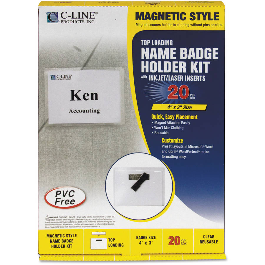 "C-Line Magnetic Name Badge Holder Kit, Horizontal, 4"" x 3"", Clear, 20/Box"