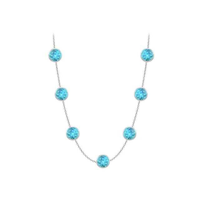 Fine Jewelry Vault UBYBT720014W36 Created Blue Topaz By the Yard Necklaces in 14K White Gold 2 Carat with One Yard... by Fine Jewelry Vault