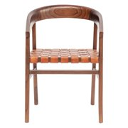 Sprinkle & Bloom Cedar Wood and Woven Leather Dining Chair
