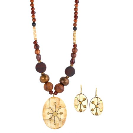 Jade Beads Necklace Earring (WOMEN'S GOLD-TONE WOODEN BEADS AND OVAL PENDANT EARRING AND STATEMENT NECKLACE SET)