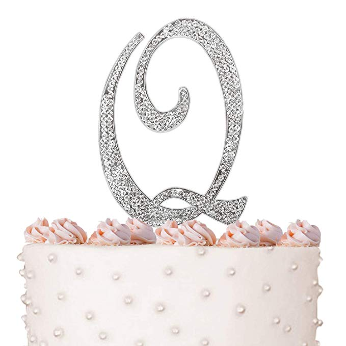 Letter Q, Initials, Happy Birthday Cake Topper, Wedding, Anniversary, Vow Renewal, Crystal Rhinestones on Silver Metal, Party Decorations, Favors