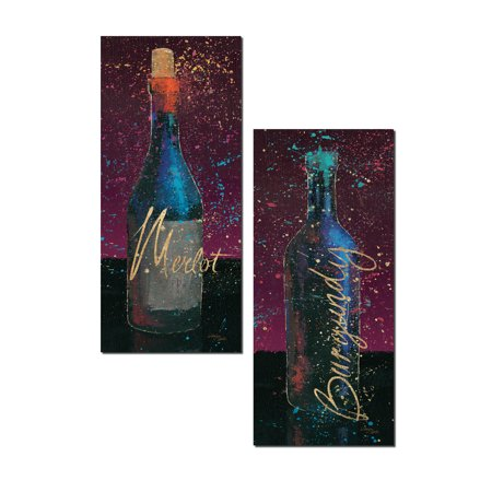 Wine Splash | Beautiful Merlot and Burgundy Wine Bottle Panels by Wellington Studios; Two 8x18in Poster Prints