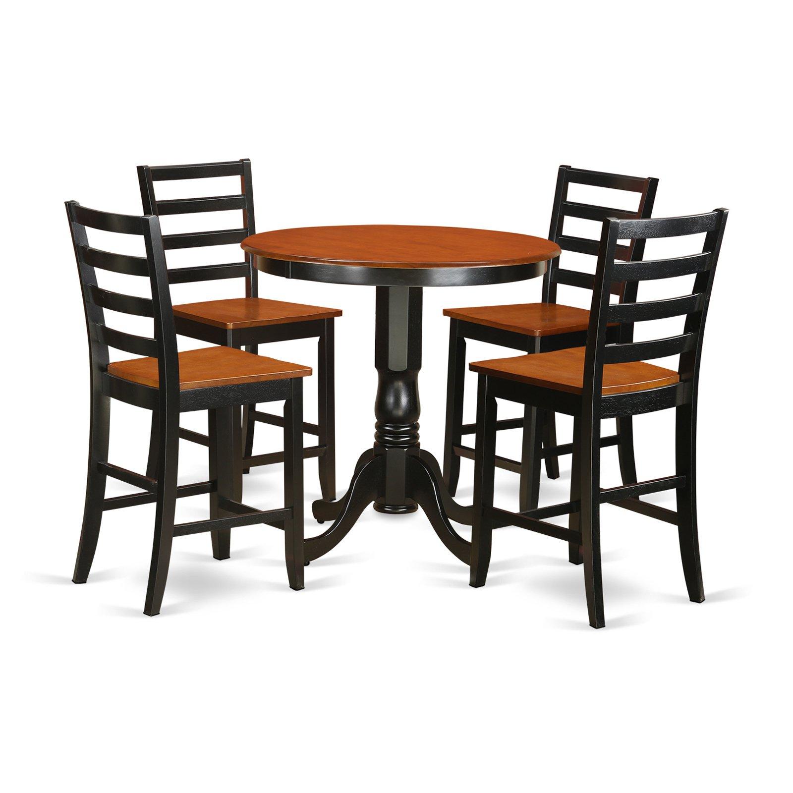 East West Furniture Jackson 5 Piece Ladder Back Dining Table Set