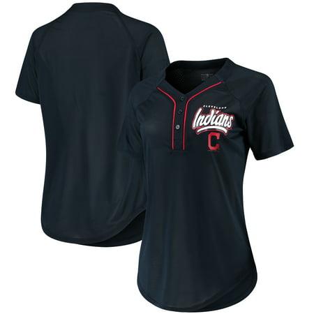 Indians Adult Home Jersey - Women's New Era Navy Cleveland Indians Henley Mesh Jersey T-Shirt